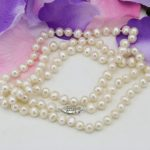 Wholesale price natural white pearl 7-8mm pearls beads necklace for women long chain charms mother <b>jewelry</b> <b>making</b> 36inch B3239