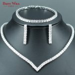 DANDY WILL Luxury Bridal <b>Jewelry</b> Sets For Women Wedding White CZ <b>Handmade</b> Rhinestone Silver Color Necklace/Earrings