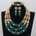 Fashion Christmas Gift Teal Green Gold <b>Jewelry</b> Set Wedding African Beads <b>Jewelry</b> Set Statement <b>Necklace</b> Set Free ShippingABH054