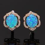 JINYAO Luxury Champagne Gold Waterdrop Earrings with Blue Fire Opal Zircon Stone For Women <b>Wedding</b> Party <b>Jewelry</b>