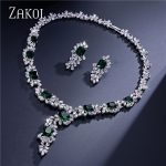 ZAKOL Top Quality Flower Shape Cubic Zirconia <b>Jewelry</b> Set Dazzling Sliver Color <b>Jewelry</b> For Ladies Anniversary FSSP299