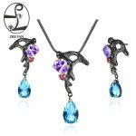 ZHE FAN New <b>Jewelry</b> Sets Big Blue Color Water Drop AAA Cubic Zirconia Black Gun Plated <b>Necklace</b> Earrings For Women Party Gift