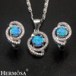 Australian Fire Opal Sets 925 Sterling <b>Silver</b> <b>Earrings</b> Pendant Necklace Set Grace Women Wedding Gift Pretty Girls Jewelry