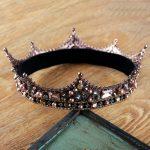 New Baroque Retro <b>Handmade</b> Crystal Big Round Crown Pearl Tiara Bridal Hair <b>Jewelry</b> Wedding Hair Accessories Headbands For Women