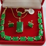 Prett Lovely Women's Wedding new! nice green GEM bracelet earrings ring & pendant 4pc set