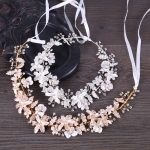 Elegant Bridal Wedding Headpieces Crystal Flower Headband tiara Gold&Silver Color Hair <b>Jewelry</b> Handmade Wedding Hair Accessories