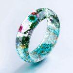 Flowers and Stone Bangles for Women Transparent Real Flowers Handmade Blue Bracelets Bangles <b>Fashion</b> <b>Jewelry</b> Bijoux