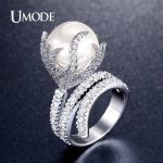 UMODE Natural Freshwater Pearl Ring For Women White Gold Color AAA Zircon Pave Luxury Rings <b>Fashion</b> <b>Jewelry</b> High Quality AUR0327