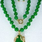 Natural Prett Lovely Women's Wedding noblest 10mm green gem necklace &18KGP pendant earring set 5.23 silver-<b>jewelry</b> wedding