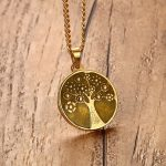 Men Coin Choker Necklace Gold Tone <b>Antique</b> Eternal Life Tree Symbol Charm Pendant & Necklace Vintage Unisex <b>Jewelry</b> with 24″