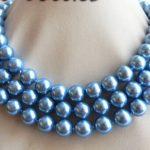 "Prett Lovely Women's Wedding shipping>> 50"" 10mm Blue Round Shell Pearl Necklace Earring Set silver-<b>jewelry</b>"