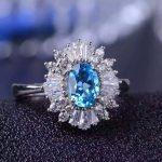 Natural blue topaz gem Ring Natural gemstone ring 925 sterling <b>silver</b> trendy Luxury Flowers Sunflower women party fine <b>Jewelry</b>