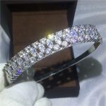 High Quality Sparkling Bridal bracelet AAAAA Zircon Cz White Gold Filled Engagement Bangle for women <b>wedding</b> accessaries <b>Jewelry</b>