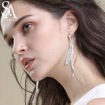 SA SILVERAGE Real 925 <b>Silver</b> Feather Drop Dangle <b>Earrings</b> for Women 2018 New Design Bohemia Sterling <b>Silver</b> Wedding <b>Earrings</b>