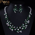 Pera Classic Big Exaggerated Flower Cubic Zirconia African Women Party <b>Necklace</b> And Earrings <b>Jewelry</b> Set With Green Stone J125