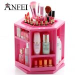 ANFEI <b>Fashion</b> New Design Rotate 360 Degrees Makeup Box Lipstick Holder Cotton Swab Box Cosmetic Brushes Case <b>Jewelry</b> Storage Box