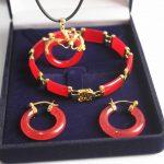 real Women's Wedding new! noblest 18kgp red gem stone dragon pendant & earring bracelet <b>jewelry</b> set silver-<b>jewelry</b>