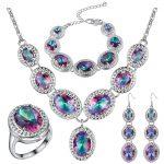 Mystic Rainbow Zircon 925 <b>Silver</b> Costume Jewelry Sets Women Earrings Rings Pendant Necklace <b>Bracelets</b> Set Jewelery