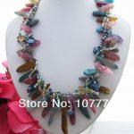 Beautiful! 11 x 33 mm coating onyx&Crystal <b>Necklace</b> free shipment