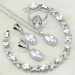 Oval 925 <b>Silver</b> Jewelry White Australian Crystal Jewelry Sets For Women Anniversary <b>Bracelets</b>/Necklace/Pendant/Earrings/Ring
