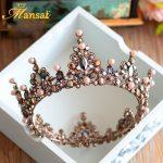 Hot Sale Luxury Vintage Tiara Crown Queen Tiaras Round European Wedding Tiaras Bronze Large Crowns Cosplay Hair <b>Jewelry</b> HG296