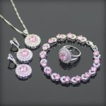 Round Pink White Cubic Zirconia 925 Sterling Silver <b>Jewelry</b> Sets For Women Earrings/Pendant/Necklace/Rings/Bracelet
