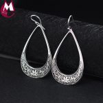handmade carved pattern 100% 925 sterling thai <b>silver</b> ear jewelry hyperbole water drop flower leaves drop <b>earrings</b> women gifts