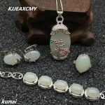 KJJEAXCMY Fine <b>jewelry</b>, Direct selling wholesale <b>jewelry</b>, 925 <b>silver</b> inlaid natural white jade female set