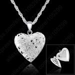 JEXXI One PC Frame Case Picture Necklace 925 Sterling Silver <b>Jewelry</b> Heart Pendant Necklaces +18 inches Singapore Chain