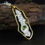 Lotus Fun Real 925 <b>Sterling</b> <b>Silver</b> Natural Peridot Handmade Fine <b>Jewelry</b> Stylish Pendant without Necklace Acessorios for Women