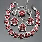 Red Zircon Wedding <b>Silver</b> 925 Costume Jewelry Sets For Women <b>Bracelets</b> Pendant Necklace Rings Earrings With Stones Set Gift Box