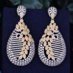 GODKI 63mm Flower Leaf Luxury Trendy Full Mirco Cubic Zirconia Setting Naija <b>Wedding</b> Women Earring Fashion <b>Jewelry</b>