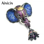 1pc Gun Black Plated Copper Elephant Head Connector Navy Blue and Rose Red CZ Setting Pendant Tassel <b>Jewelry</b> <b>Making</b> Materials