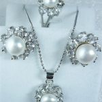 Prett Lovely Women's Wedding wholesale simple white shell pearl silver plated pendant earring and ring(#7.8.9) <b>jewelry</b> set 001