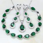 Water Drop Green Cubic Zirconia White CZ 925 Sterling Silver <b>Jewelry</b> Sets For Women Wedding Earrings/Pendant/Necklace/Bracelet