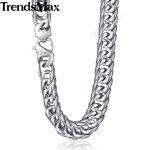 Trendsmax 15mm 60cm 70cm 316L Stainless Steel <b>Necklace</b> for Men <b>Silver</b> Color Curb Cuban Link Men's Chain KHN57