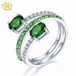 Hutang Natural Gemstone Chrome Diopside Similar Diamond Solid 925 <b>Sterling</b> <b>Silver</b> Spring Ring Fine <b>Jewelry</b> presents Gift NEW