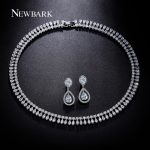 NEWBARK Luxury Wedding Jewelry Sets <b>Silver</b> Color Cubic Zirconia Water Drop <b>Earrings</b> And Necklace Love Gifts For Bridal Best Gift