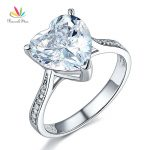 Peacock Star Solid 925 Sterling Silver Wedding Engagement Ring 3.5 Carat Heart <b>Jewelry</b> CFR8215