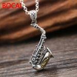 S925 <b>sterling</b> <b>silver</b> <b>jewelry</b> <b>silver</b> necklace pendant retro Rawlins Sax instruments small pendant