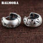 BALMORA 100% Real 990 Pure Silver Hoop Earrings for Women Mother Gifts Retro <b>Fashion</b> Earrings <b>Jewelry</b> Accessories Bijoux SY31287
