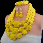 Fantastic Yellow African Wedding Beads <b>Jewelry</b> Set <b>Handmade</b> Crystal Statement Necklace Set Pendant for Bride Free Shipping WD554