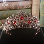 CC crowns tiaras hairbands red rhinestones vintage pageant baroque style <b>wedding</b> hair accessories for brides hair <b>jewelry</b> HG803