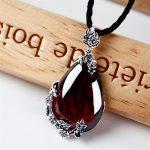 famous brand 925 <b>Silver</b> Royal Bohemian garnet natural semi-precious stones Pendant <b>Necklace</b> red female retro girlfriend gift