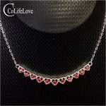 Elegant <b>silver</b> ruby necklace for evening party 11 pcs 2 mm * 2 mm ruby wedding necklace solid 925 <b>silver</b> ruby fine <b>jewelry</b>