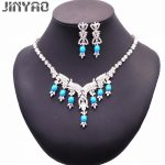 JINYAO Fashion Bride <b>Jewelry</b> Set for Women White Gold Color Flowers Zircon Blue Stone <b>Necklace</b> Earring Luxury Wedding Party Set