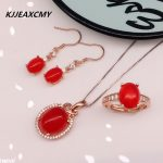 KJJEAXCMY Boutique jewelry Cai Bao jewelry 925 <b>silver</b> set of natural red chalcedony three sets of simple generous wholesale