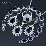 L&B 4Pcs logo 925 Women Valuable Jewelry Sets <b>Silver</b> color Blue Crystal White Zircon <b>Bracelets</b>/Earrings/Pendant/Necklace/Ring