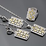 Plant Yellow Zircon Silver 925 Costume Wedding <b>Jewelry</b> Sets Women Pendants and Necklaces Rings Earrings With Stones Set Gift Box