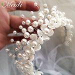 MEIDI Imitation Pearl Bridal Tiara Crown Brides Headbands Korea style Women Wedding Hair Accessories Tiara De Noiva Hair <b>Jewelry</b>